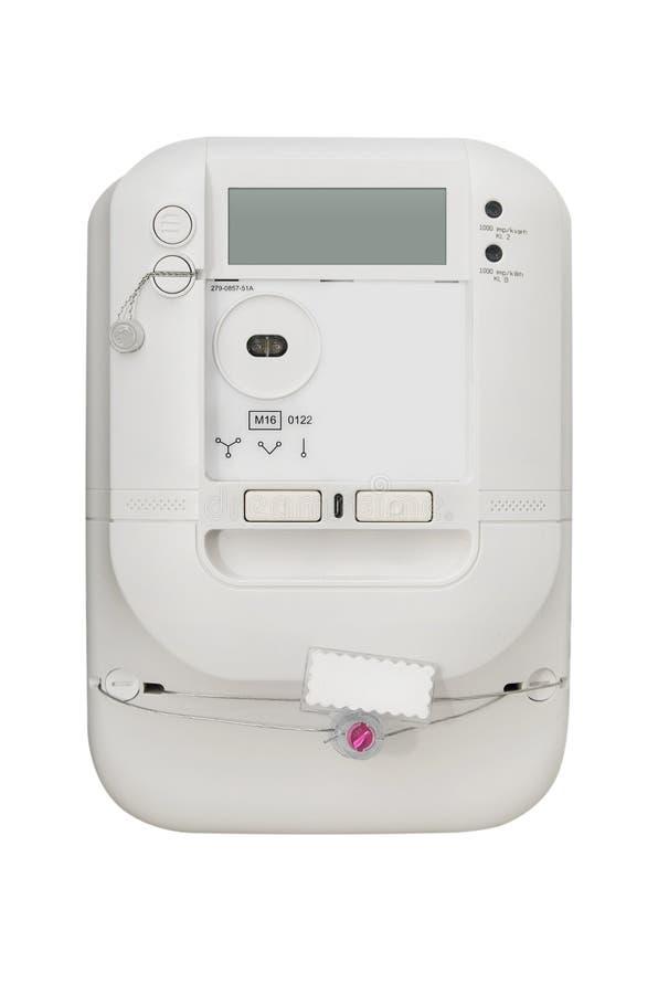 Medidor da energia elétrica Unidade elétrica isolada no backgro branco imagem de stock