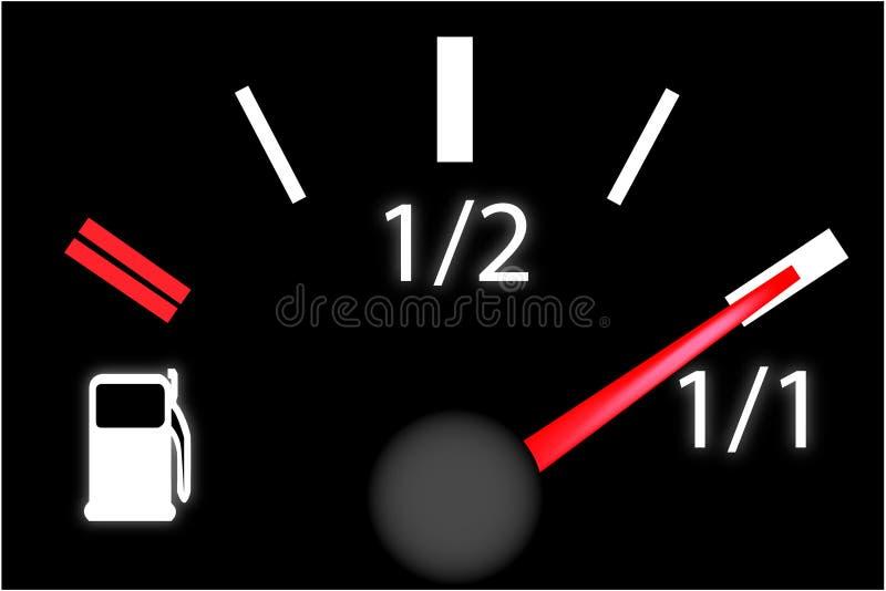 Medidor da gasolina da placa do traço do carro ilustração stock