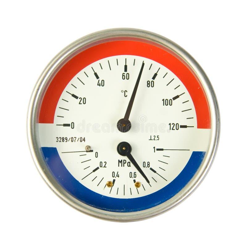 Medidor da temperatura e da pressão fotografia de stock
