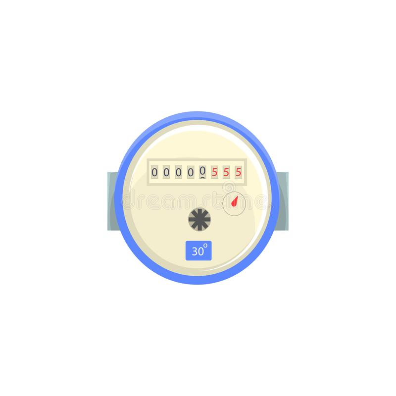 Medidor de água doméstico, ilustração do vetor do dispositivo de medição do agregado familiar ilustração stock