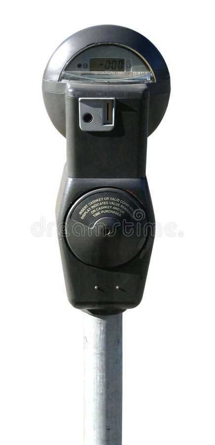 Medidor de estacionamento, isolado de encontro ao fundo branco foto de stock royalty free