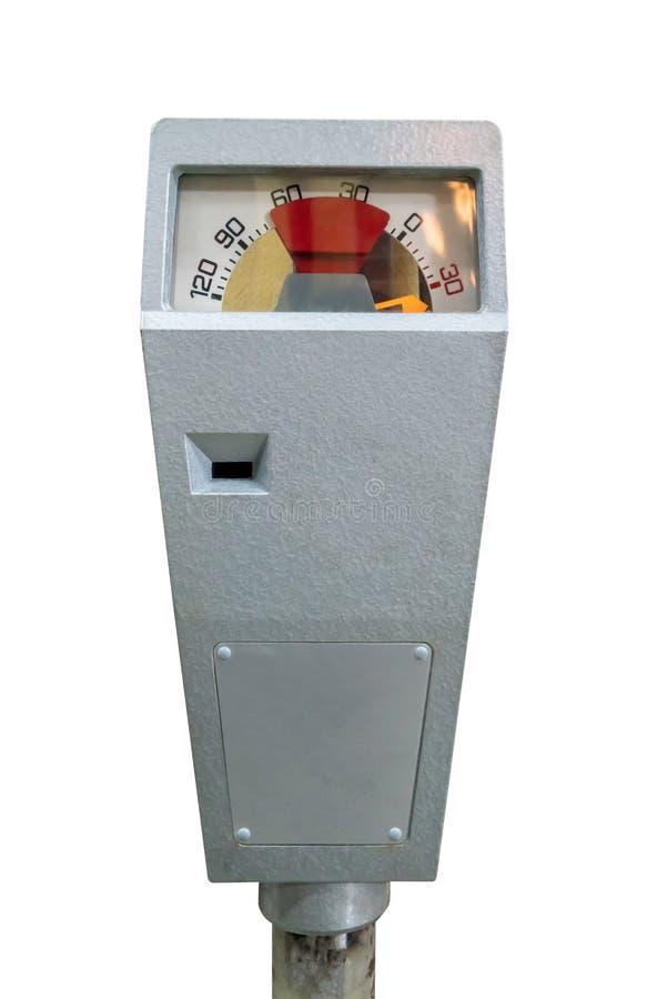 Medidor de estacionamento retro com tempo isolado no branco fotografia de stock