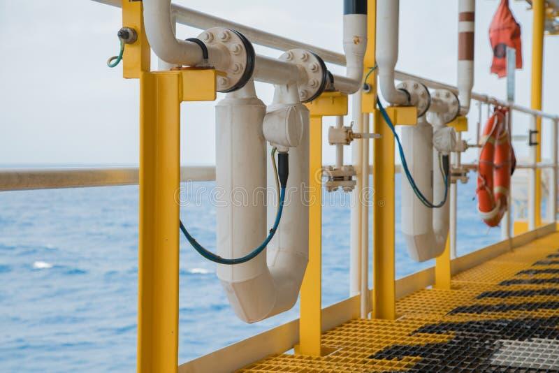 Medidor de fluxo do gás e do óleo bruto na plataforma a pouca distância do mar da construção para medir o caudal fotos de stock royalty free