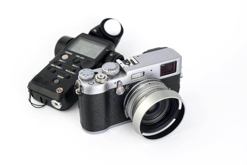 Medidor de luz e câmera imagem de stock