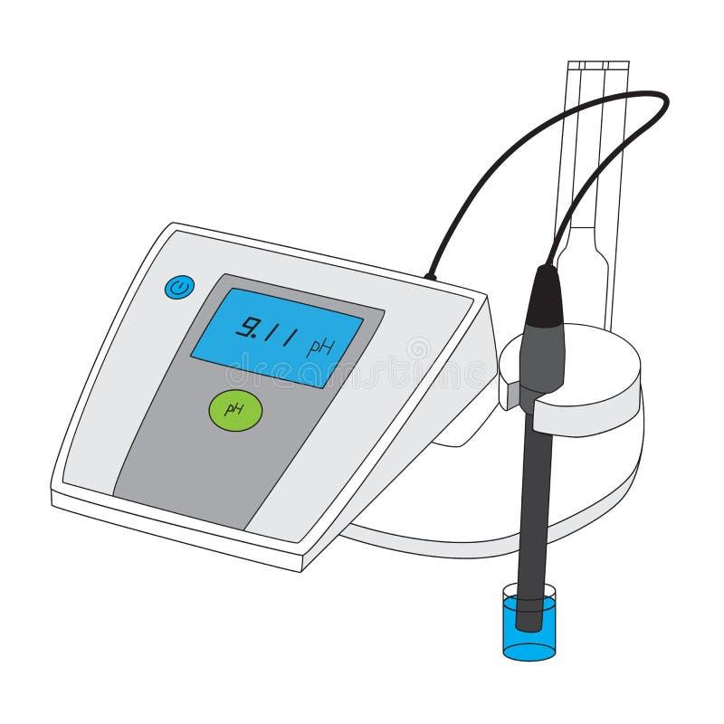 Medidor de pH para medir la acidez-alcalinidad stock de ilustración