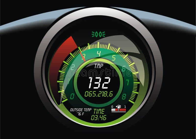 Medidor de velocidade no carro ilustração stock