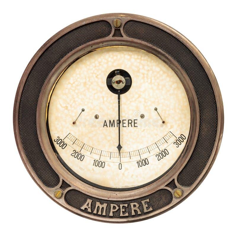 Medidor do ampère do vintage isolado no branco fotos de stock