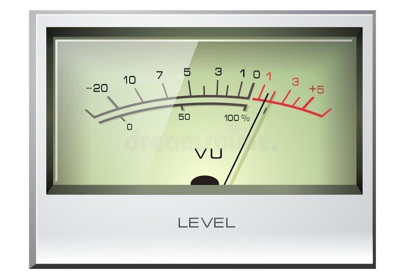 Medidor do VU do sinal análogo ilustração stock
