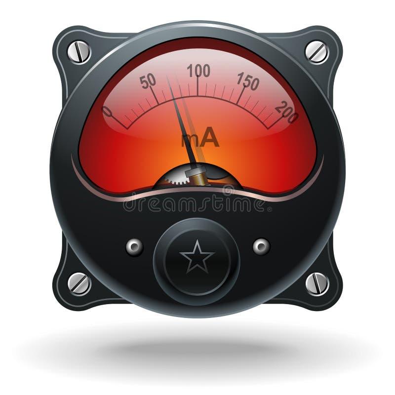 Medidor eletrônico do sinal do VU do analog ilustração stock