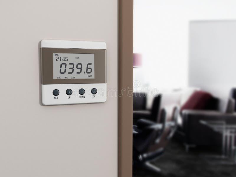 Medidor fixado na parede da energia ao lado da entrada da sala ilustração stock