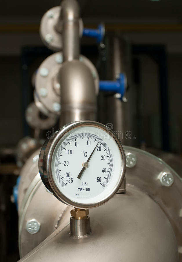 Medidor industrial da temperatura de água fotos de stock