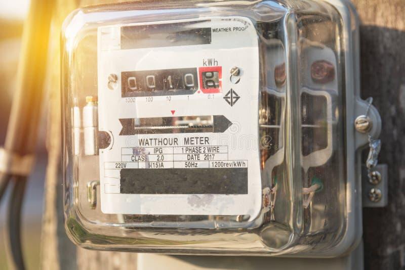 Medidores bondes análogos Medidores bondes da hora do watt eletricidade fotografia de stock