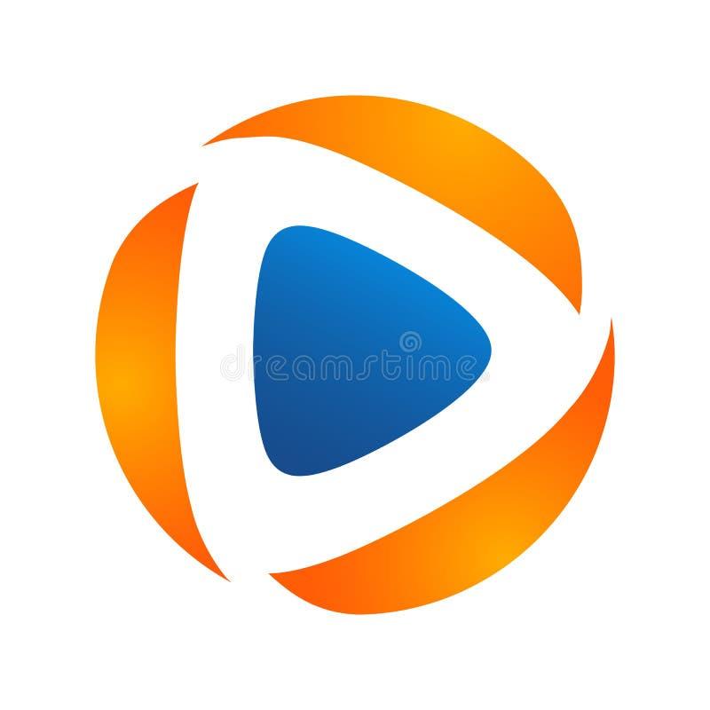 Medien spielen einfaches modernes Konzept des Logovektors, Medienlogozeichen, Pl vektor abbildung