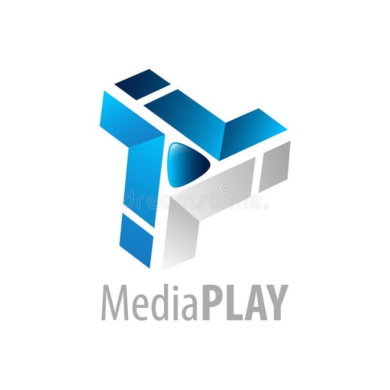 Medien spielen Logokonzeptentwurf Grafisches Schablonenelement des Symbols vektor abbildung