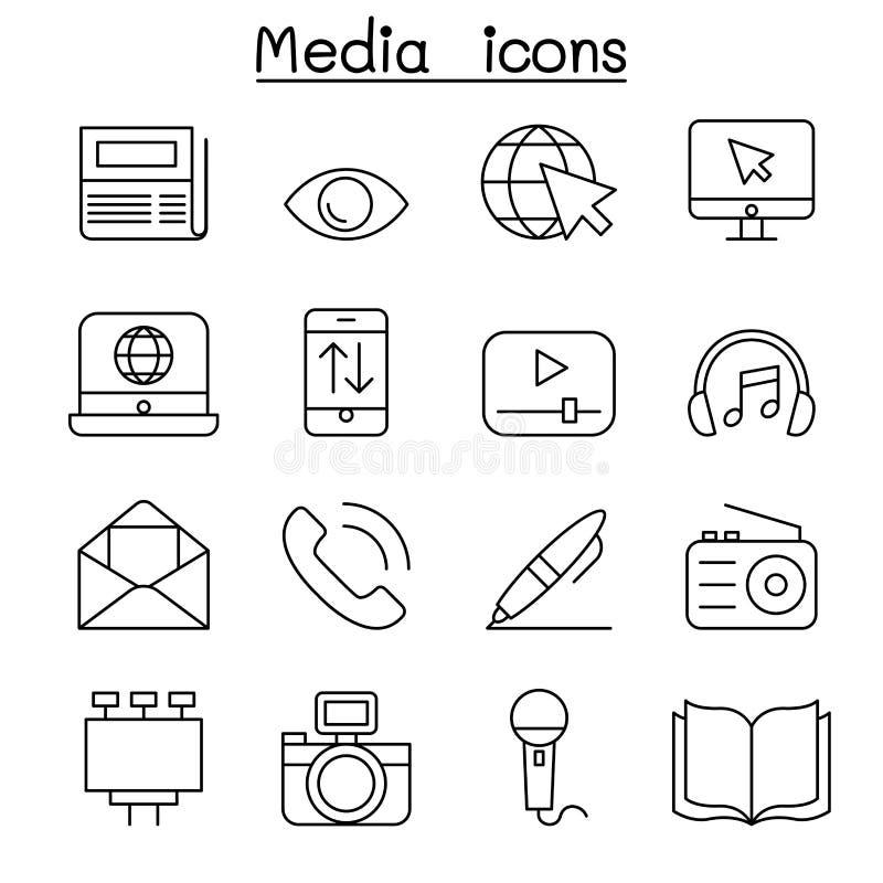 Medien- u. Kommunikationsikone stellte in dünne Linie Art ein vektor abbildung