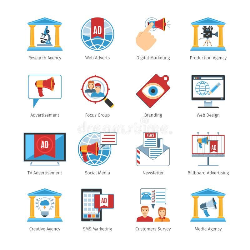 Medien-Werbungs-flache Design-Ikonen vektor abbildung
