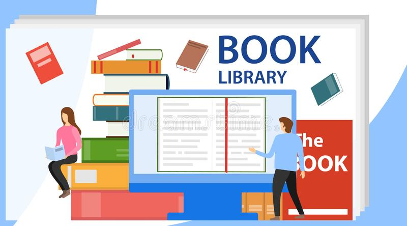 Medienbuch-Bibliothekskonzept Vektorillustration der on-line-Bibliothek EBook, ein ebook lesend, um auf Ebibliothek zu studieren vektor abbildung