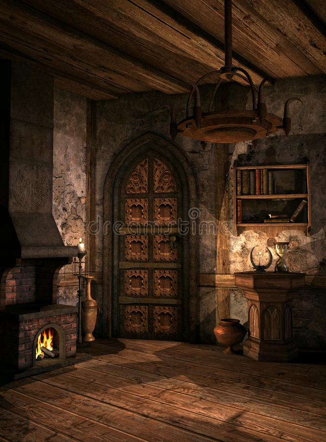 Medieval 1. Room in a medieval fantasy style stock illustration