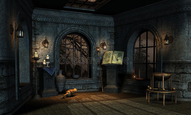 Medieval 2. Room in a medieval fantasy style stock illustration
