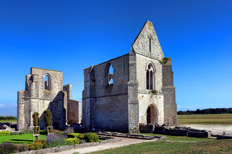 Medieval Abbey Gothic Church Ruins in France royalty free stock images