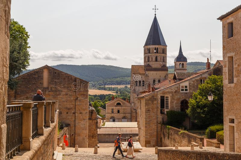 Medieval abbey in the historic centre of Cluny town, France. CLUNY / FRANCE - JULY 2015: Medieval abbey in the historic centre of Cluny town, France stock images