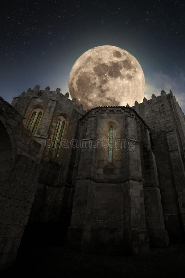 Medieval abbey by night stock photo