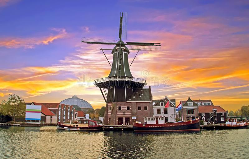 Medieval Adriaan Windmill in Haarlem the Netherlands. At sunset royalty free stock photos