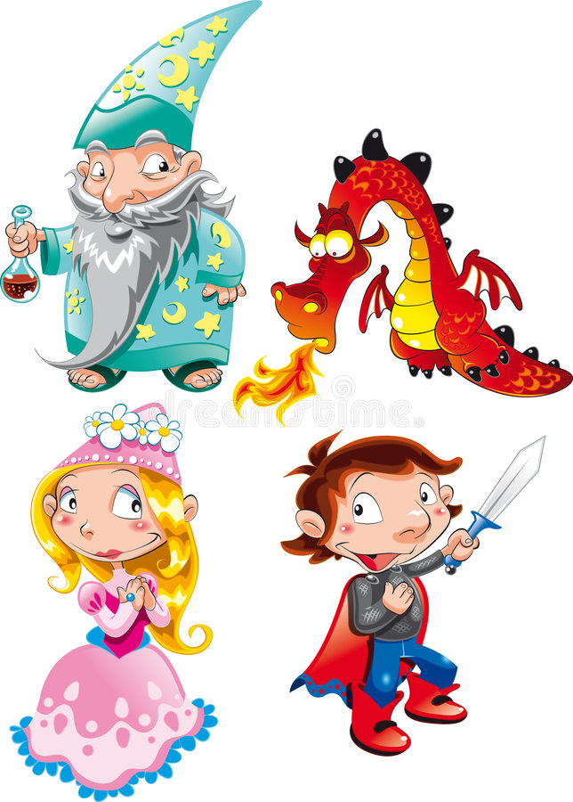 Medieval Age. Vector Character - Medieval Age: Princess, Prince, Dragon, Magician stock illustration