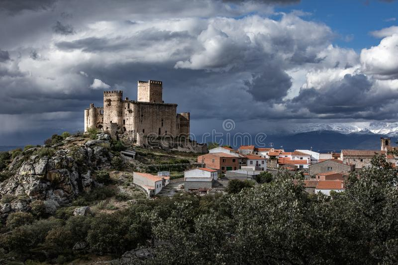 Medieval Age with castles, swords, shields royalty free stock photography