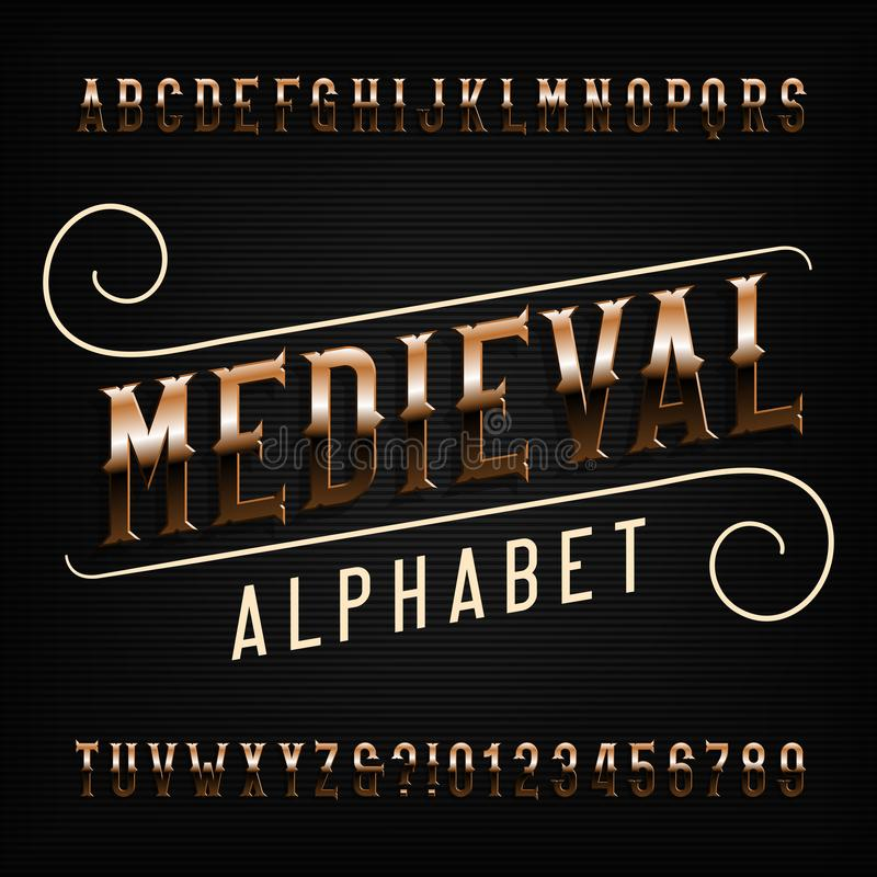 Download Medieval Alphabet Font Golden Vintage Ornate Letters Stock Vector