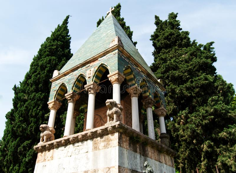 Medieval ark of Glossatory Tombe dei Glossatori, great masters of law, near basilica of San Francesco. Bologna, Italy. Medieval ark of Glossatory Tombe dei stock photos