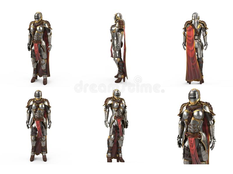 Medieval armor of fantasy full of women with a closed helmet and red cape. isolated white background. 3d illustration stock illustration