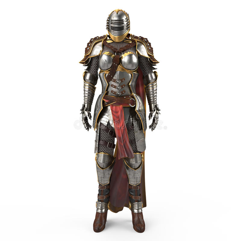Medieval armor of fantasy full of women with a closed helmet and red cape. isolated white background. 3d illustration vector illustration