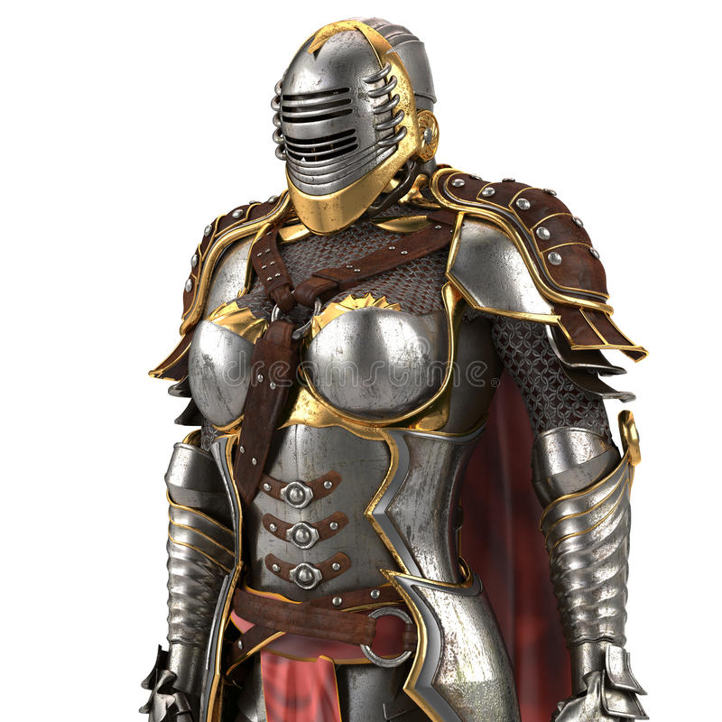 Medieval armor of fantasy full of women with a closed helmet and red cape. isolated white background. 3d illustration. Medieval armor of fantasy full of women stock illustration