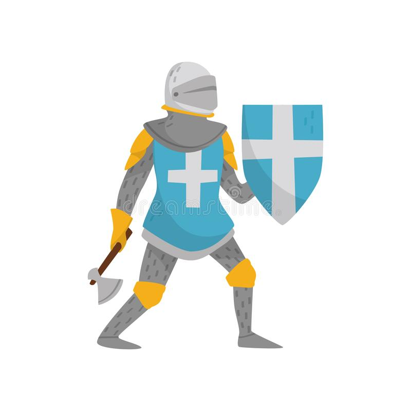 Medieval armored knight warrior character holding blue shield with white cross and axe vector Illustration on a white vector illustration