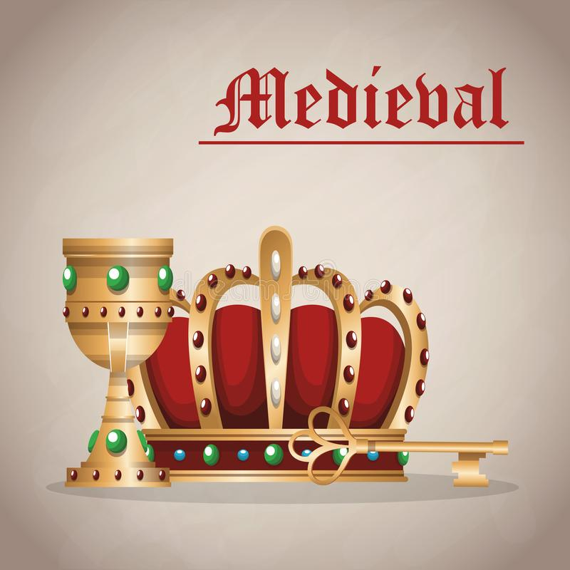 Medieval army emblem. With crown vector illustration graphic design vector illustration