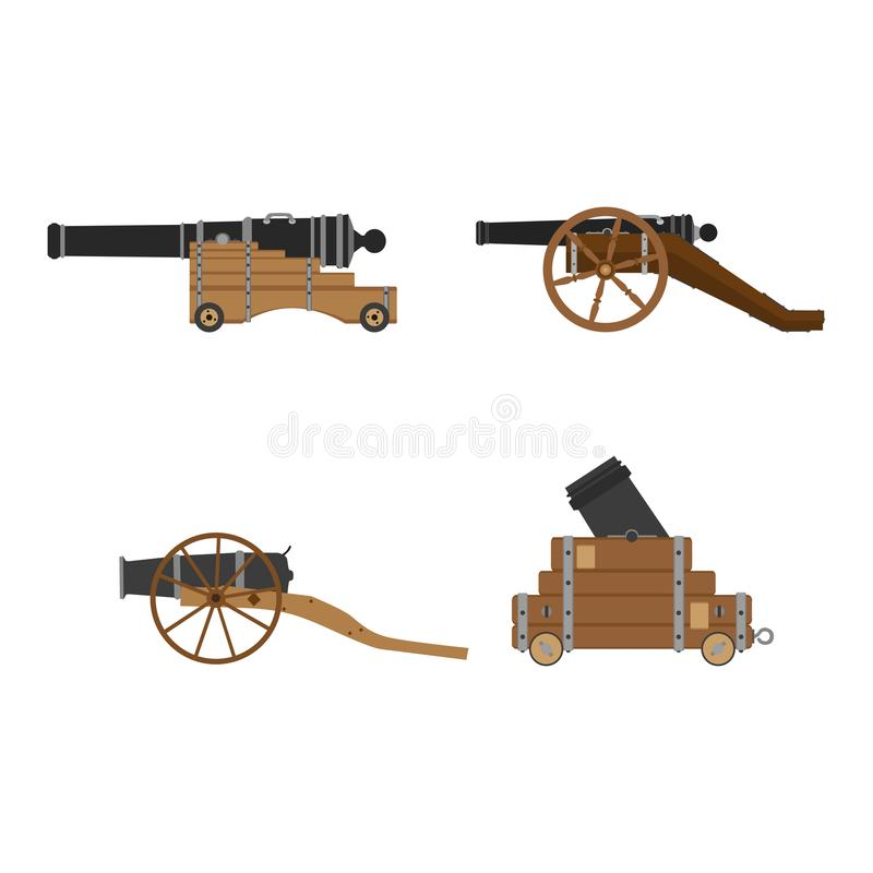 Medieval artillery cannon set vector flat illustration design concept. Castle defense weapon stock illustration