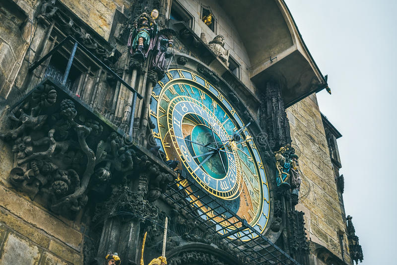Medieval astronomical clock, Prague, Chech Republic stock photography