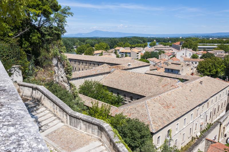 Medieval Avignon cityscape view on Old Town roofs from high viewpoint royalty free stock photos