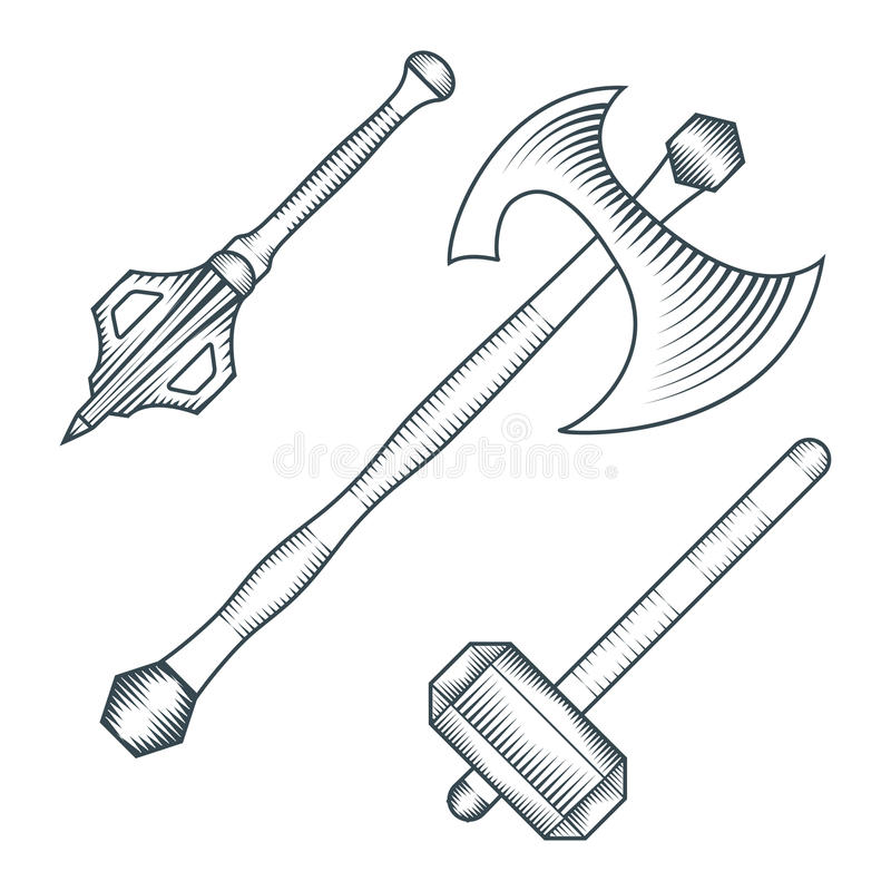 Medieval axe warhammer mace engraving style illustration. Vector black color medieval axe warhammer mace engraving style illustration set white background stock illustration