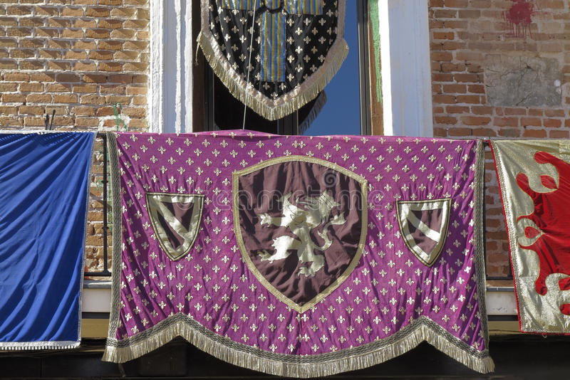 Medieval banner. With a lion as symbol stock photos