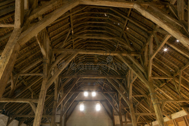 Medieval barn in Flanders. Gothic medieval barn in Lissewege, Flanders in Belgium, a 13th century building royalty free stock image