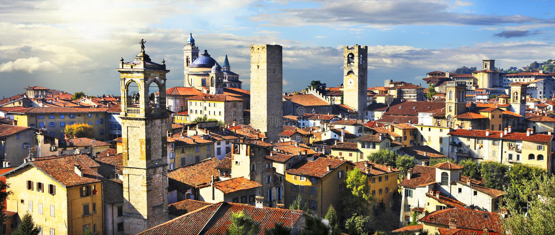 Medieval Bergamo, Italy. Panorama of old Bergamo on sunset, Italy royalty free stock photos