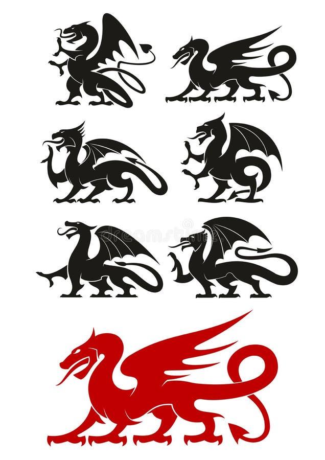 Medieval black heraldic dragons animals royalty free illustration