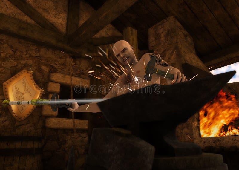 Medieval Blacksmith Forging Sword On Anvil royalty free stock image