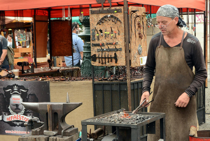 Medieval blacksmith. In Prague, Czech Republic royalty free stock photos