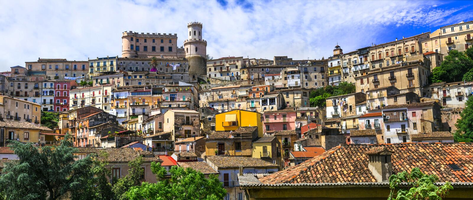 Medieval borgo village Corigliano calabro. Travel in Italy, Calabria. Impressive Corigliano Calabro village,view with traditional houses and old castle,Calabria royalty free stock images