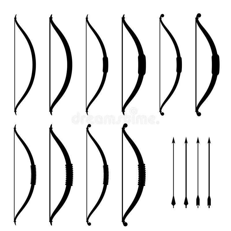 Medieval bow weapon black symbols vector illustration