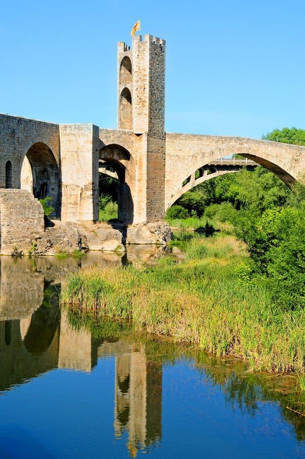 Medieval bridge in Besalu, Spain stock photography