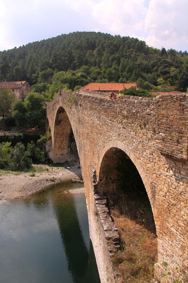 Medieval bridge in France stock photo